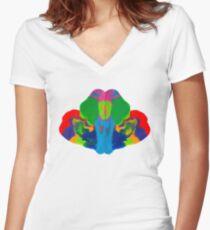 Rorschach Tintenklecks Shirt mit V-Ausschnitt