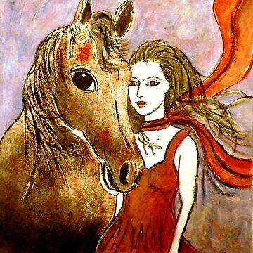 Scarlet's Pony Horse (Linocut) 2 by BillyLee