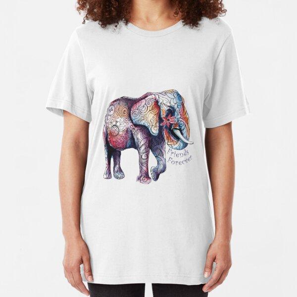 Kristins Flower of Friendship Elephant Slim Fit T-Shirt