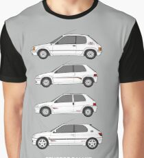 Peugeot 205, 106, 306 Rallye Classic Car Collection Artwork.  Graphic T-Shirt