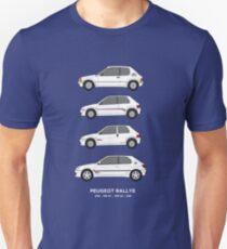 Peugeot 205, 106, 306 Rallye Classic Car Collection Artwork.  Unisex T-Shirt