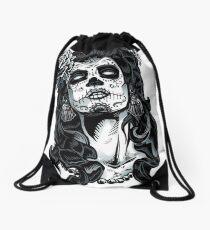 skull lady clothing Drawstring Bag