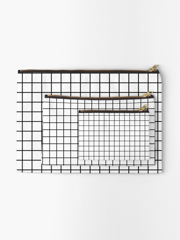 Alternate view of Emmy -- Black and White Grid, black and white, grid, monochrome, minimal grid design cell phone case Zipper Pouch