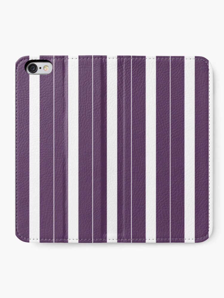 Vista alternativa de Fundas tarjetero para iPhone Rayas púrpuras y blancas
