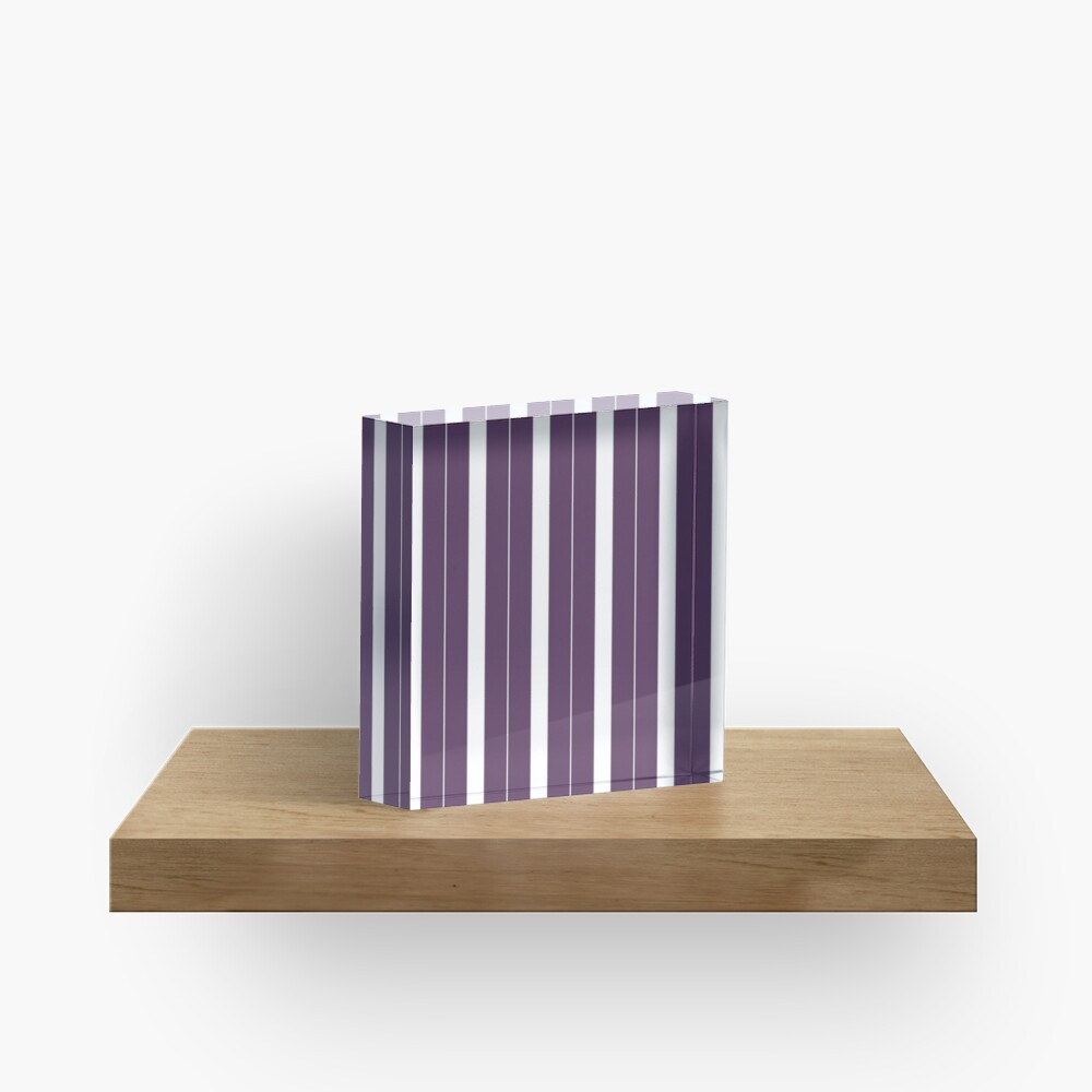 Rayas púrpuras y blancas Bloque acrílico