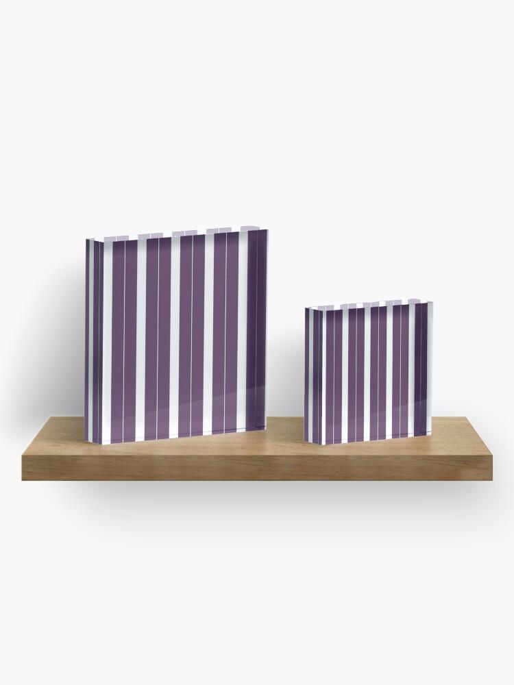 Vista alternativa de Bloque acrílico Rayas púrpuras y blancas