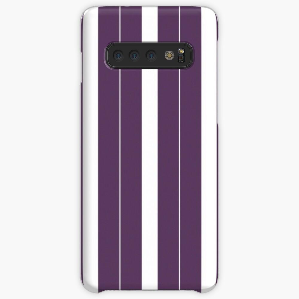Rayas púrpuras y blancas Funda y vinilo para Samsung Galaxy