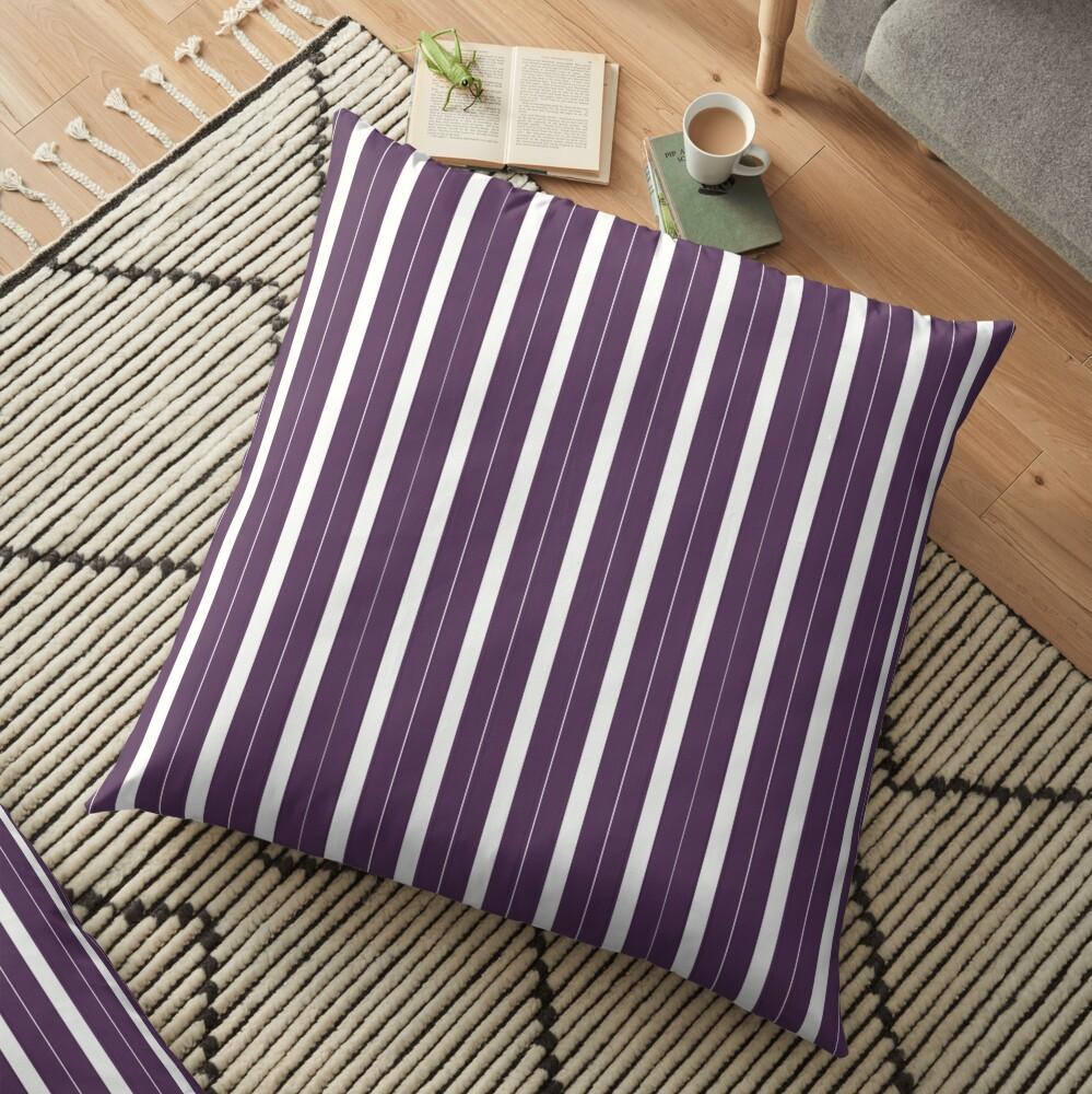 Rayas púrpuras y blancas Cojines de suelo