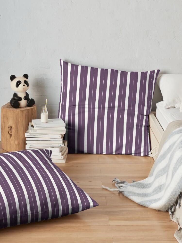 Vista alternativa de Cojines de suelo Rayas púrpuras y blancas