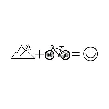 Mountain Biking Cycling Funny Design - Mountain + Bike = Happiness by kudostees