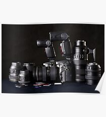 Set of photographs. DSLR camera, lens and flash Poster