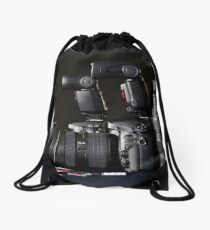 Set of photographs. DSLR camera, lens and flash Drawstring Bag