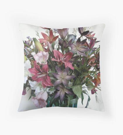 Silk Floral Arrangement Throw Pillow