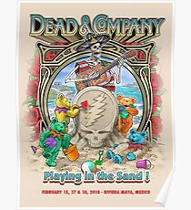 Art Grateful Dead Summer Company Playing in The Sand riviera maya Mexico Poster