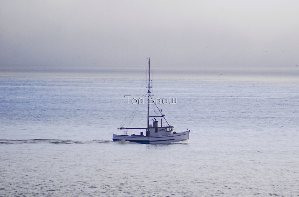 Fishing Boat in the Mist by Tori Snow