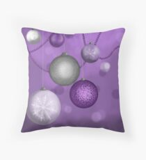 Purple And Silver Holiday Throw Pillow