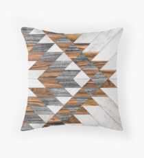 Urban Tribal Pattern 12 - Aztec - Wood Throw Pillow