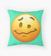 Woozy Face Emoji Throw Pillow