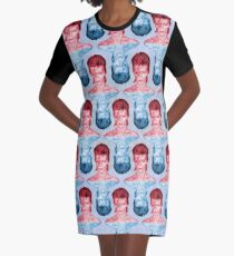 Red & Blue David Bowie by Cupcakes and Chopsticks Graphic T-Shirt Dress
