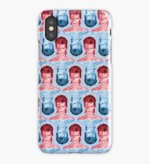 Red & Blue David Bowie by Cupcakes and Chopsticks iPhone Case/Skin
