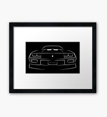 Camaro Z-28 IROC-Z - front stencil, white Framed Print