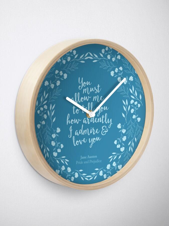 Alternative Ansicht von Jane Austen Stolz und Vorurteil Blumenliebe Zitat Uhr