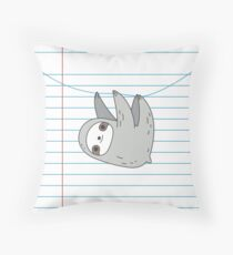 Sloth hanging on a notebook page Throw Pillow