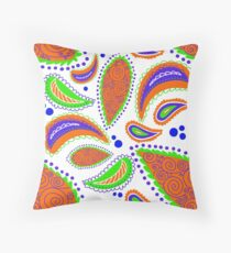 Orange Paisley Pattern Throw Pillow