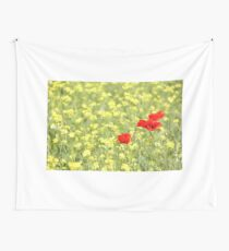 poppy and yellow wild flowers spring scene Wall Tapestry