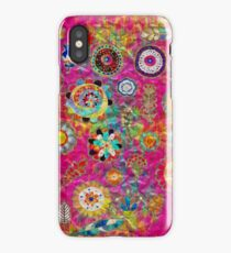 Boho Flowers Abstract mixed media digital art collage  iPhone Case/Skin