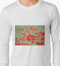 poppy and green wheat Long Sleeve T-Shirt