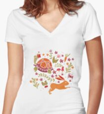 Tortoise and the Hare in Red Women's Fitted V-Neck T-Shirt