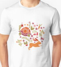 Tortoise and the Hare in Red Unisex T-Shirt