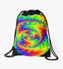 Psychedelic Spiral Trippy Fractal Art Print Drawstring Bag