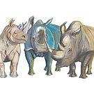 Tall Mug of Rhinos Shroomy BigBlue Bosshog by AJLeibengeist
