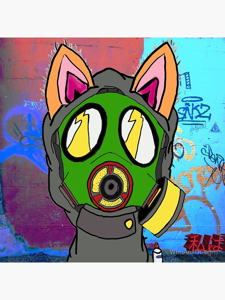 Graffiti Gasmask Cat de WhoAmIDesigns
