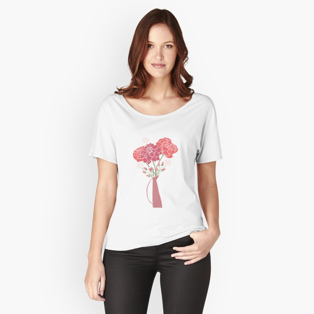 Pink Flower Bouquet in a Vase Relaxed Fit T-Shirt