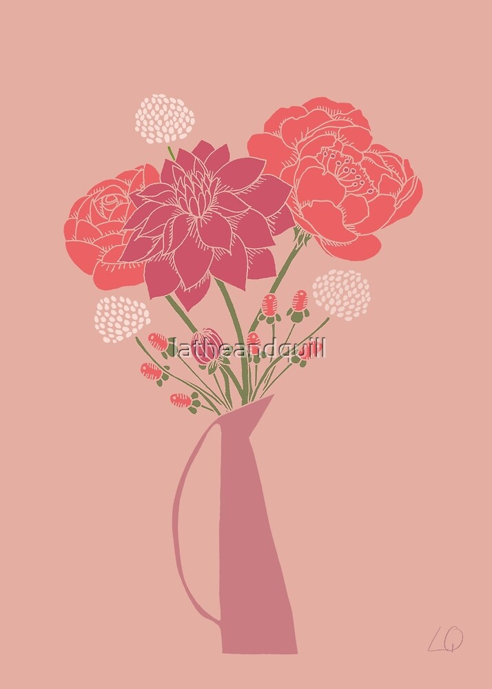 Pink Flower Bouquet in a Vase by latheandquill