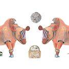 Mug – Mechanical Rhinos Crimson Pyramid Rams Back to Back by AJLeibengeist