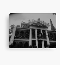 Black And White Haunted Mansion Canvas Print