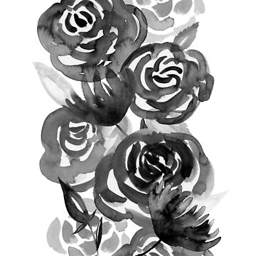 Black and White Watercolor Floral Stripe by noondaydesign