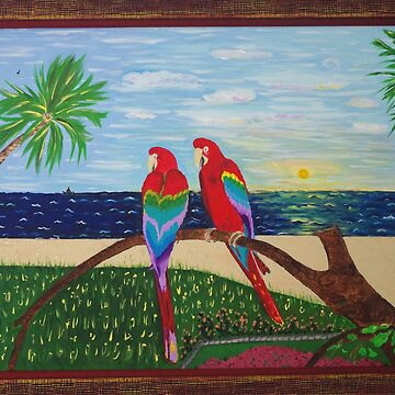 Parrots Chatting Framed by AnneG