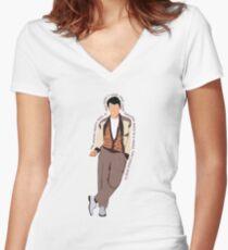 Ferris Bueller Tailliertes T-Shirt mit V-Ausschnitt
