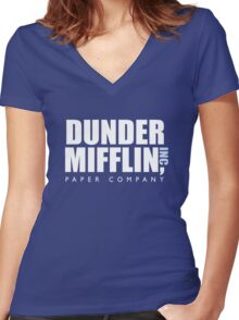 Dunder Mifflin The Office Logo Women's Fitted V-Neck T-Shirt