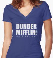 Dunder Mifflin The Office Logo Women's Fitted V-Neck T-Shirt