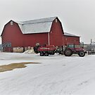 Red Barn and Tractor by Graphxpro