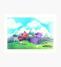 Cute monsters in the nature Art Print