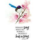 Maya Angelou Quote and Watercolor Bird by Jeri Stunkard