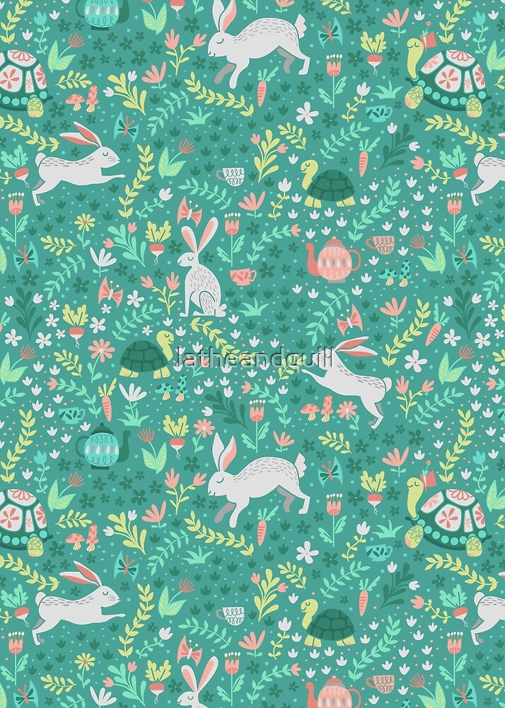 Spring Pattern with Bunnies and Turtles by latheandquill