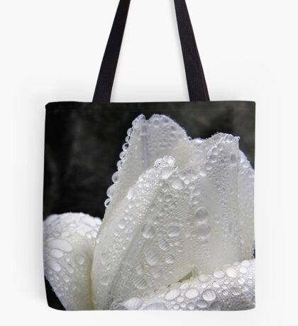 Water Driplets on White Tulip Tote Bag